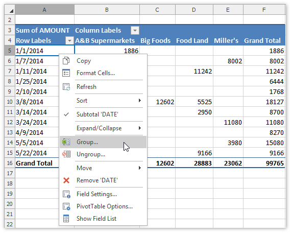 Group Items in a Pivot Table | DevExpress End-User Documentation