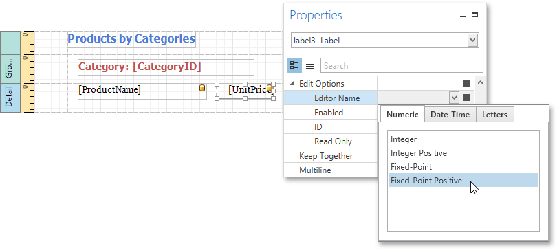 Eud Wpf Report Label Edit Options Editor Name