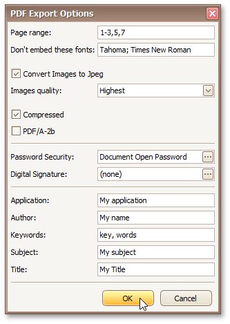 PDF-Specific Export Options | DevExpress End-User Documentation