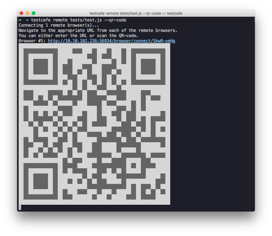 TestCafe Open Source QR Code for Remote Web Testing