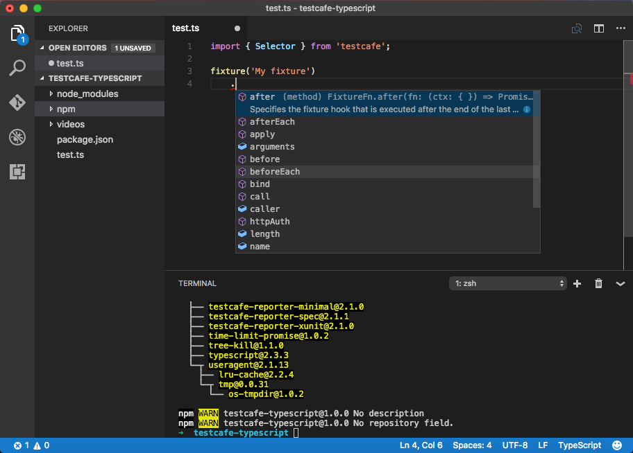 TypeScript Support | TestCafe